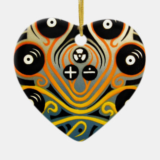 DJ Octopus in yellow Christmas Ornament