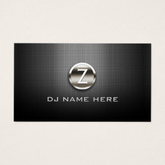 DJ Professional Steel Monogram Business Card