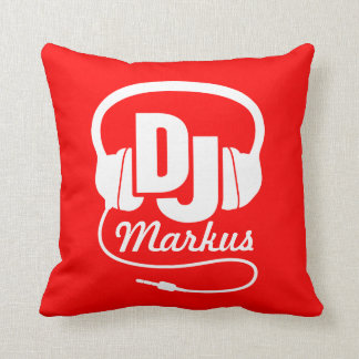 DJ red & white add your name pillow