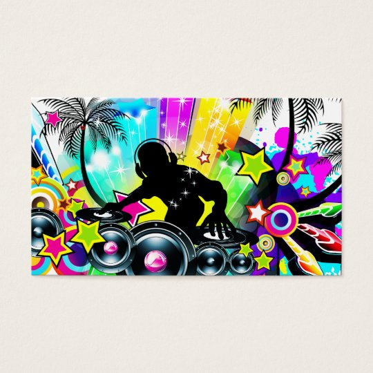 DJ Retro Colourful Tropical Template Business Card