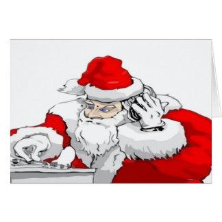 DJ Santa Claus Mixing The Christmas Party Track Greeting Card