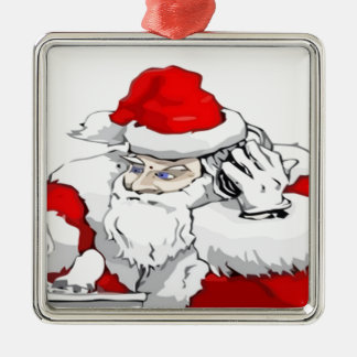 DJ Santa Claus Mixing The Christmas Party Track Silver-Colored Square Decoration