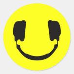 DJ smiley Round Sticker