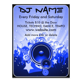 DJ Speaker Music Flyer(Blue) 21.5 Cm X 28 Cm Flyer