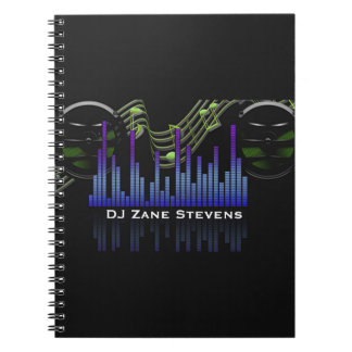 DJ Speakers, Music Staff, Notes Sound Bar Spiral Notebook