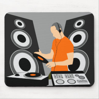 DJ Spinning Vinyl At Decks Mouse Mat