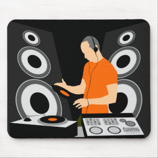 DJ Spinning Vinyl At Decks Mouse Pad
