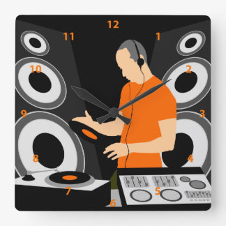 DJ Spinning Vinyl At Decks Square Wall Clock
