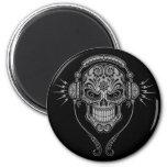 DJ Sugar Skull – Black 6 Cm Round Magnet