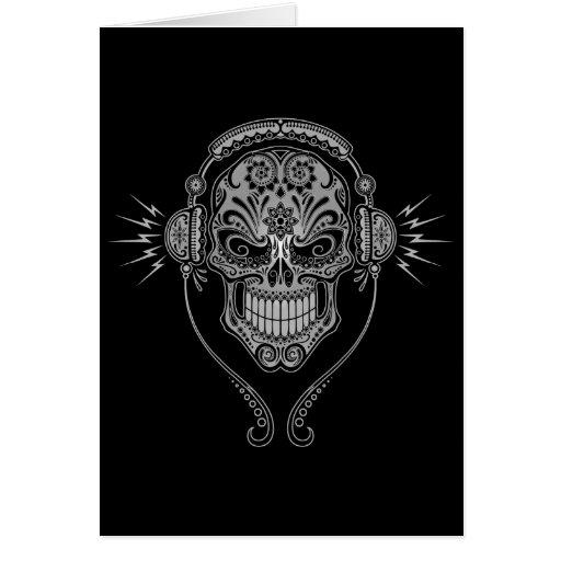 DJ Sugar Skull – Black Greeting Cards
