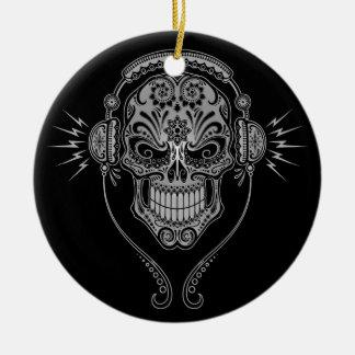 DJ Sugar Skull – Black Christmas Ornament