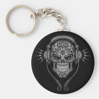 DJ Sugar Skull – Black Key Ring