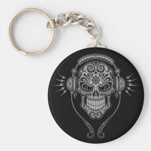 DJ Sugar Skull – Black Key Chain