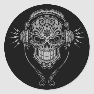 DJ Sugar Skull – Black Round Sticker