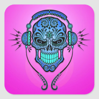 DJ Sugar Skull – Blue and Purple Square Sticker
