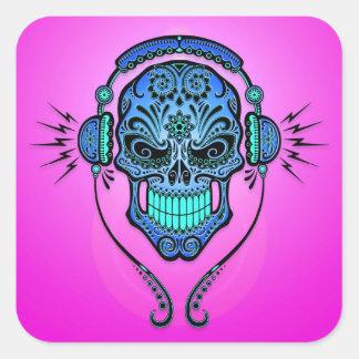 DJ Sugar Skull – Blue and Purple Square Stickers