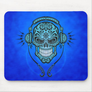 DJ Sugar Skull (blue) Mouse Pad