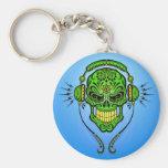 DJ Sugar Skull – Green and Blue Basic Round Button Key Ring