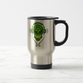 DJ Sugar Skull – Green and Yellow Stainless Steel Travel Mug