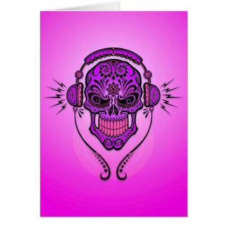 DJ Sugar Skull – Purple Greeting Card