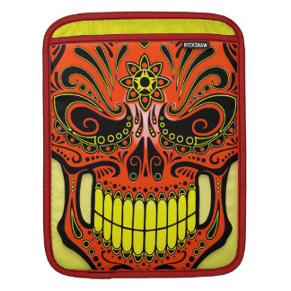 DJ Sugar Skull, red and yellow iPad Sleeve