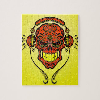DJ Sugar Skull, red and yellow Jigsaw Puzzle