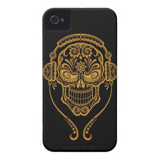 DJ Sugar Skull, Yellow and Black Blackberry Cases