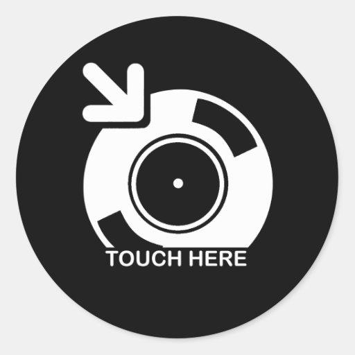 DJ Touch Here Classic Round Sticker