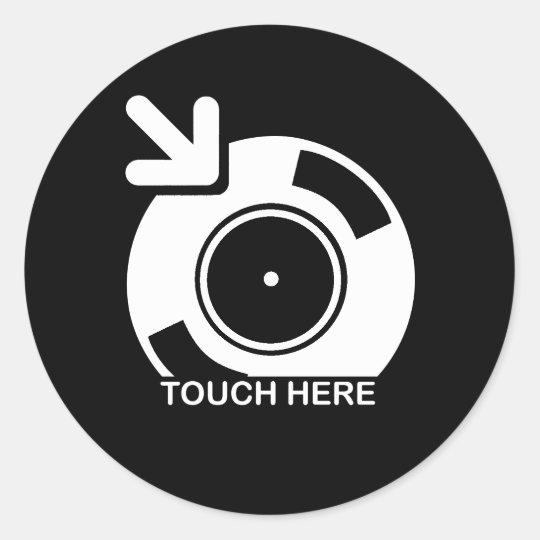 DJ Touch Here Round Sticker