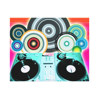 DJ Turntable Circles Canvas Print