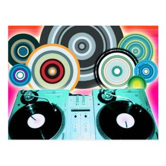DJ Turntable Circles Postcard
