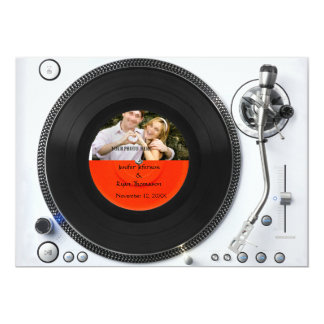 DJ turntable photo wedding Invitation