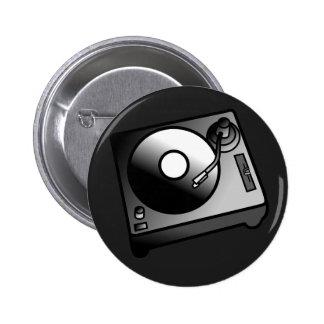 DJ Turntable Record Player Digital Art Graphics 6 Cm Round Badge