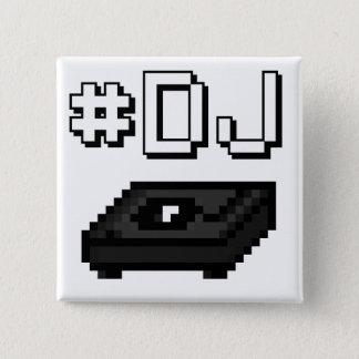 #DJ Turntable Record Player Pixel Art Graphics 15 Cm Square Badge