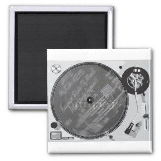 DJ Turntable Square Magnet