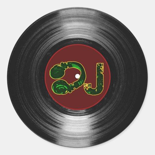 dj vinyl classic round sticker