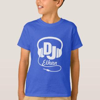 DJ your name white on blue kids t-shirt
