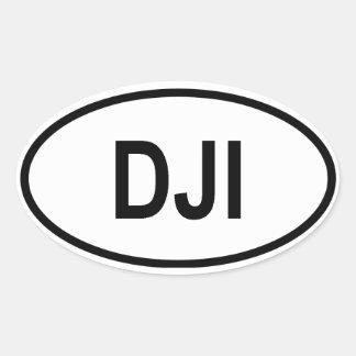 "Djibouti ""DJI"" Oval Sticker"