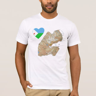 Djibouti Flag Heart and Map T-Shirt