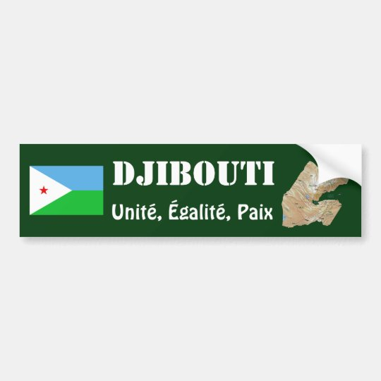 Djibouti Flag + Map Bumper Sticker