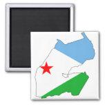 Djibouti Flag map DJ Square Magnet