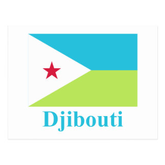 Djibouti Flag with Name Postcard
