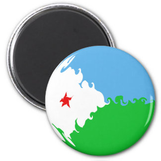 Djibouti Gnarly Flag 6 Cm Round Magnet