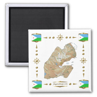 Djibouti Map + Flags Magnet