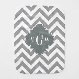 Dk Gray Lg Chevron Charcoal Quatrefoil 3 Monogram Burp Cloth