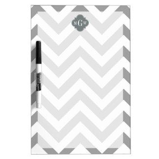 Dk Gray Lg Chevron Charcoal Quatrefoil 3 Monogram Dry Erase Board