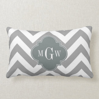 Dk Gray Lg Chevron Charcoal Quatrefoil 3 Monogram Lumbar Cushion