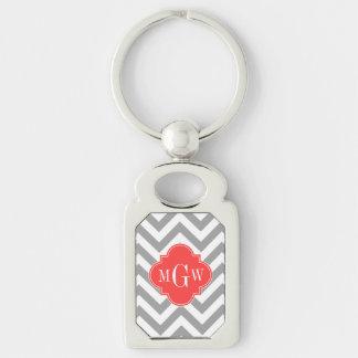 Dk Gray Lg Chevron Coral Red Quatrefoil 3 Monogram Silver-Colored Rectangle Key Ring