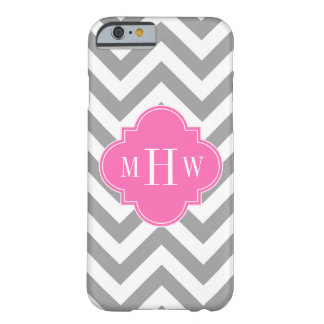 Dk Gray Lg Chevron Hot Pink Quatrefoil 3 Monogram Barely There iPhone 6 Case