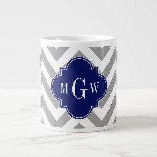 Dk Gray Lg Chevron Navy Quatrefoil 3 Monogram Large Coffee Mug